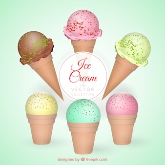 Delicious ice-creams with different tastes