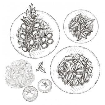 Вкусная итальянская еда на рисунке