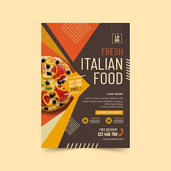Delicious italian food poster template