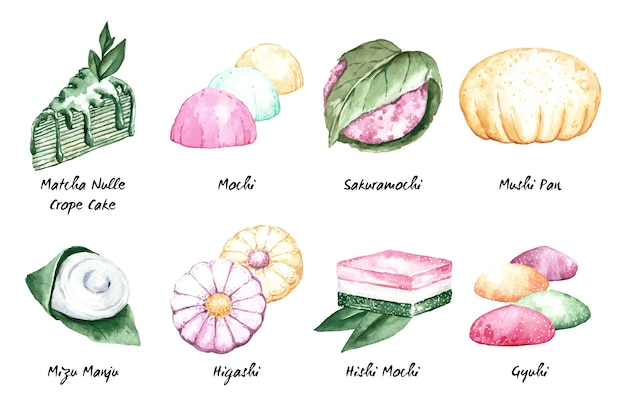 Delicious japanese dessert collection in watercolour style