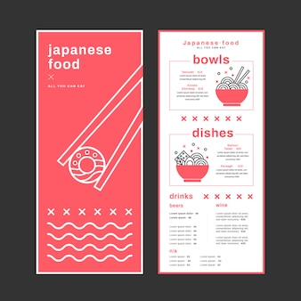 Delicious japanese food restaurant menu