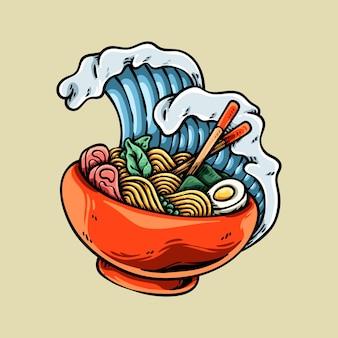 Delicious japanese ramen noodle illustration
