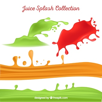 Delicious juice splashes collection in realistic style