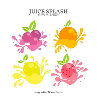 Delicious juice splashes collection with fruits
