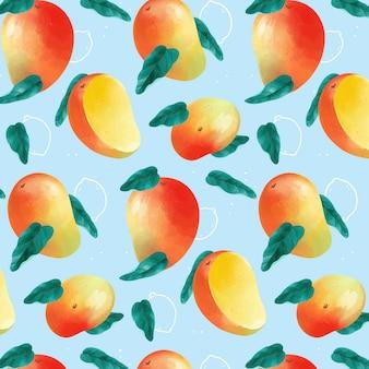 青色の背景においしいマンゴーパターン