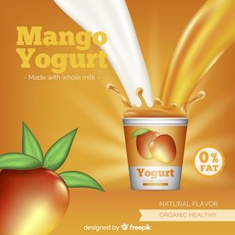 Delicious mango yogurt background