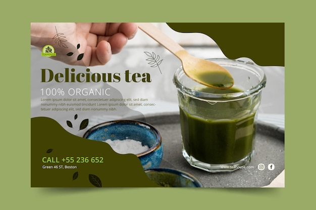 Modello di banner delizioso tè matcha