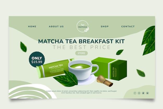Delizioso modello di pagina di destinazione del tè matcha
