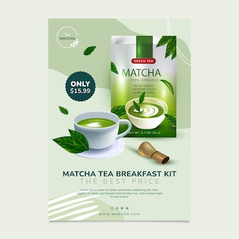 Delizioso modello di poster di tè matcha
