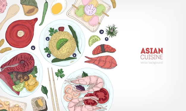 Delicious meals of asian cuisine and food products