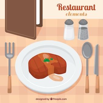 식당에서 맛있는 고기
