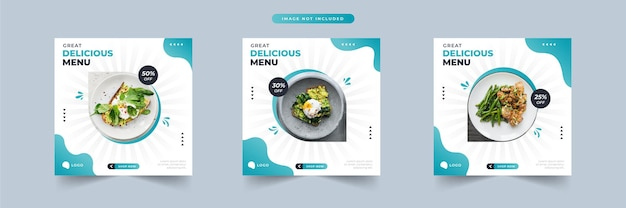 Delicious menu food social media promotion and banner post design template collection