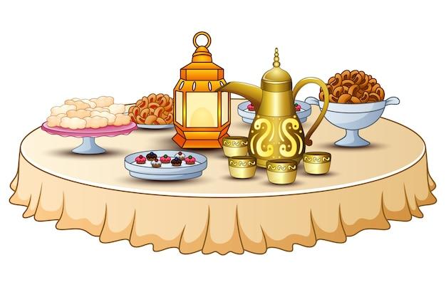 랜턴과 금 주전자가있는 테이블에 iftar 파티를위한 맛있는 메뉴가 있습니다.