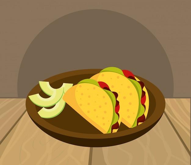 Delicious mexican food cartoon on restaurant table