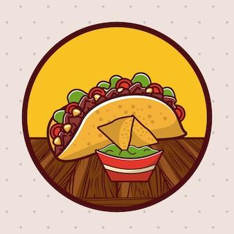 Delicious mexican food gastronomy cartoons