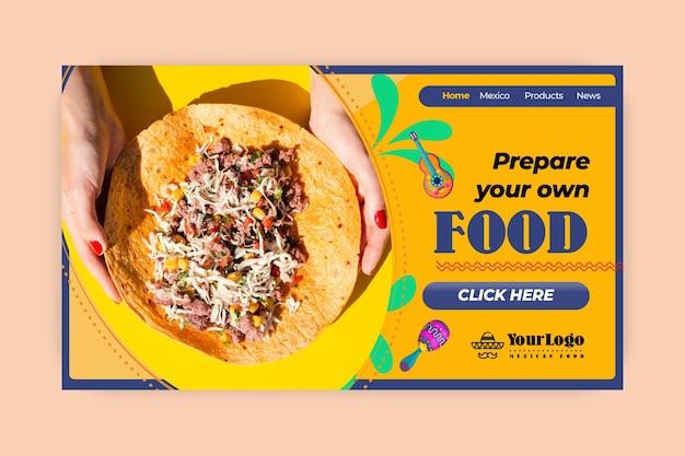 Pagina di destinazione del delizioso cibo messicano