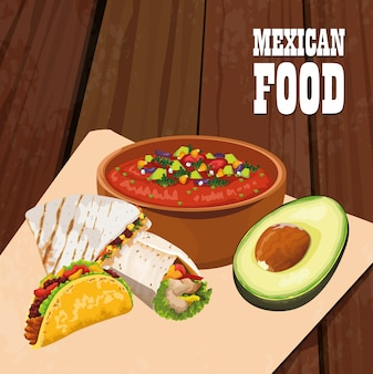Delicious mexican food poster icons