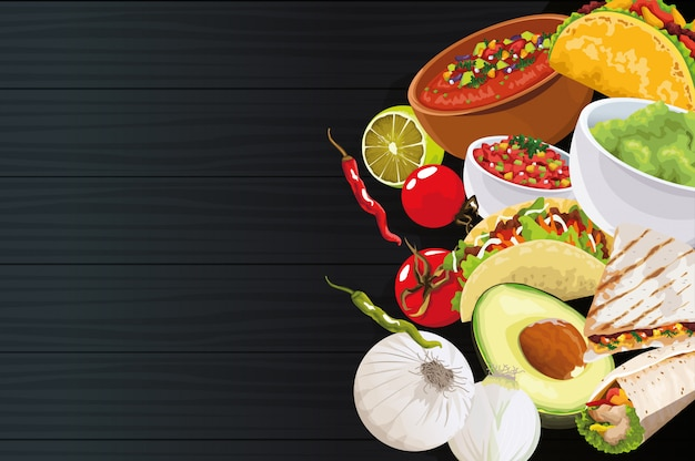 Delicious mexican food with ingredients on black background