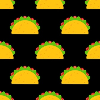 Delicious mexican taco food seamless pattern