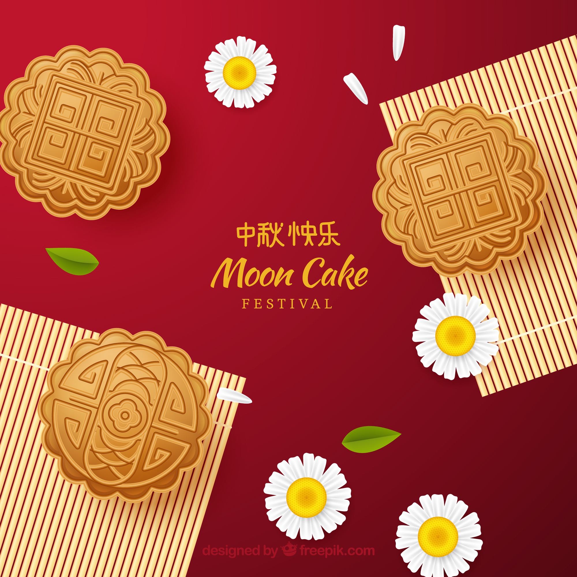 Delicious moon cake background in realistic style