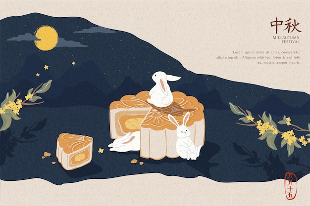 Delicious mooncake and cute jade rabbit for mid autumn festival banner