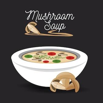 Delicious mushrooms soup menu restaurant