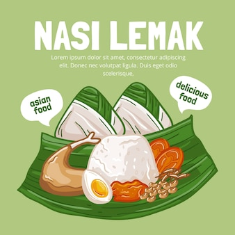 Delicious nasi lemak ready to serve