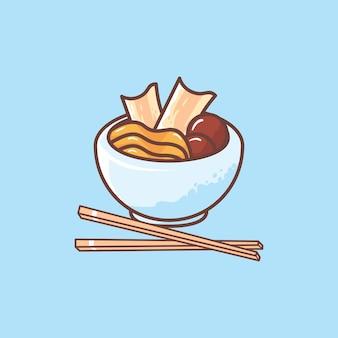 Мультфильм вкусная лапша с мясным шариком