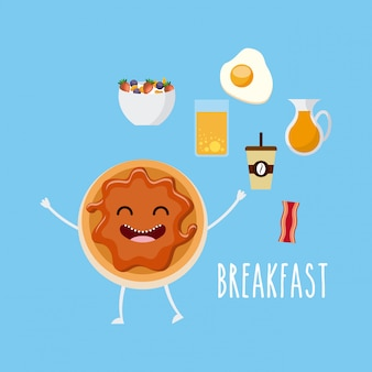 Delicious and nutritive breakfast character