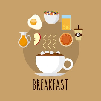 Delicious and nutritive breakfast icon