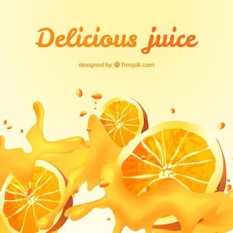 現実的なデザインでおいしいオレンジジュースの背景