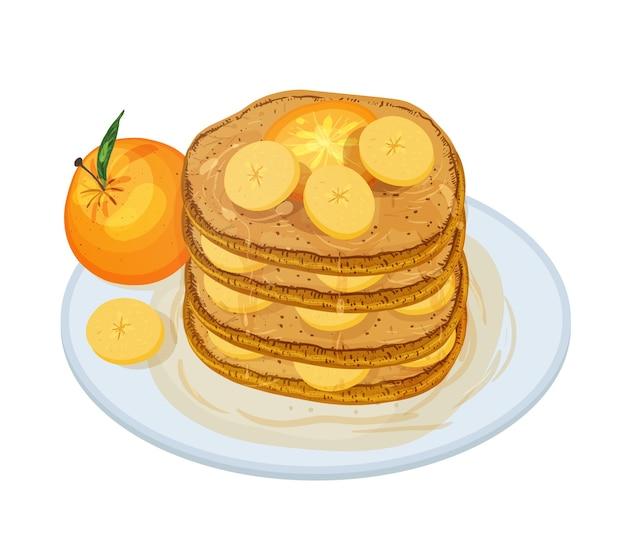 白で隔離された皿の上に横たわっているシロップと果物をトッピングしたおいしいパンケーキまたはアラジー