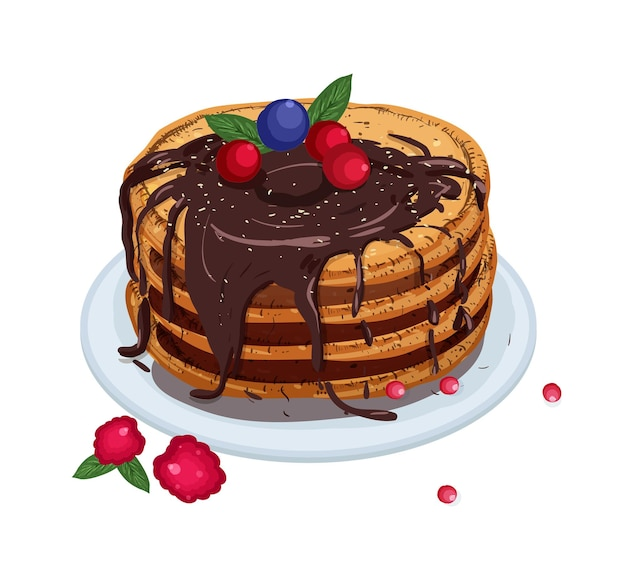 Delicious pancakes topped with chocolate sauce and berries lying on plate isolated