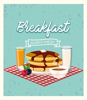 Delicious pancakes with orange juice and coffee cup