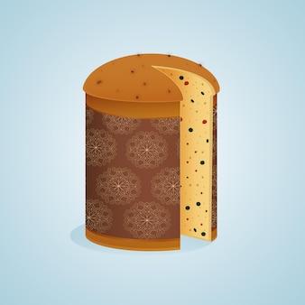 Вкусный панеттоне в плоском дизайне