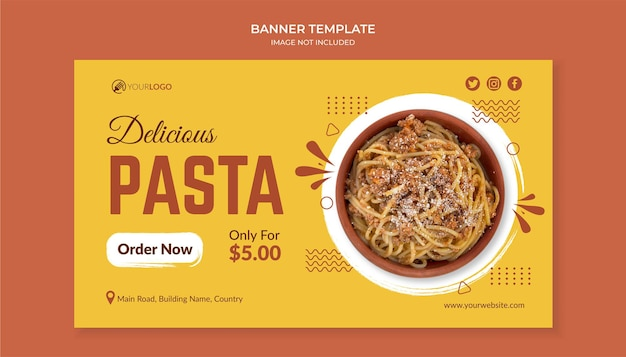 Delicious pasta food banner template