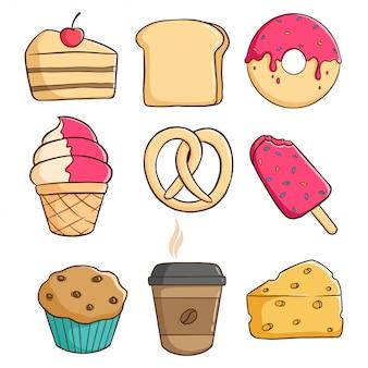 Вкусные кондитерские элементы с пончиком, кусочком торта, мороженым и кексом