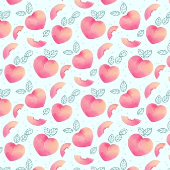 Delicious peach pattern on light blue background