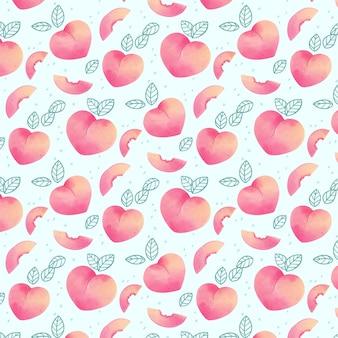 Вкусный узор персика на голубом фоне