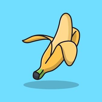 おいしい皮をむいたバナナ フルーツのデザイン イラスト。孤立したフード デザイン。