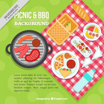 Delicious picnic and bbq in flat design background