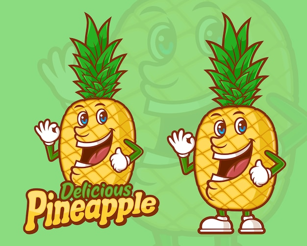 Delicious pineapple funny cartoon character