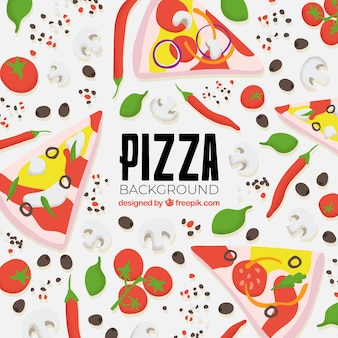 Delicious pizza background with flat design