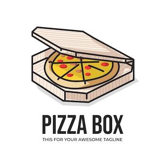 귀여운 라인 아트 일러스트레이션의 맛있는 피자 상자