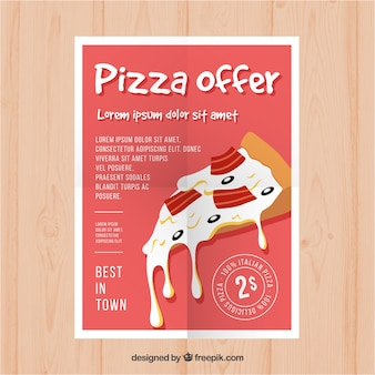 Delicious pizza and cheese offer brochure