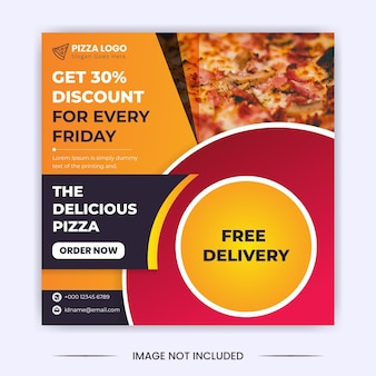 Delicious pizza discount social media post and instagram banner design template
