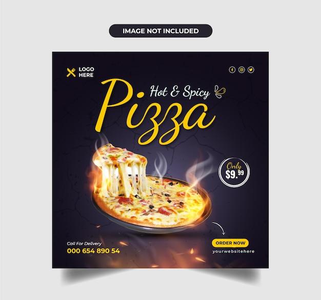 Delicious pizza food menu promotion facebook cover or social media banner premium vector