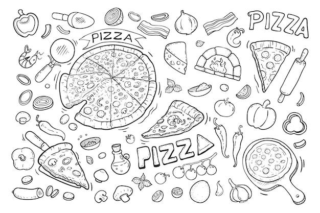 おいしいピザ手描き落書き