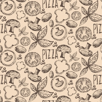 Delicious pizza ingredientes seamless pattern
