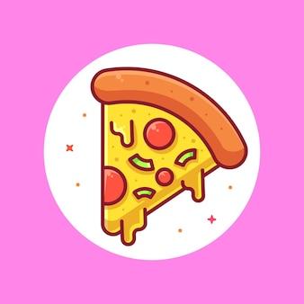 Delicious pizza logo cartoon vector icon illustration premium fast food logo in flat style